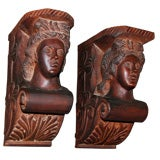 Pair of Carved Mahogany Corbels, circa 1940