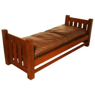 Mission oak arts crafts daybed by l jg stickley at 1stdibs for Arts and crafts daybed