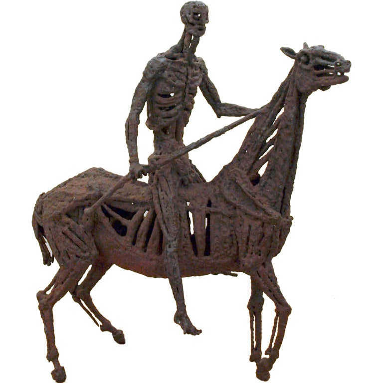 Original abstract metal sculpture of horse and rider for for Original sculptures for sale