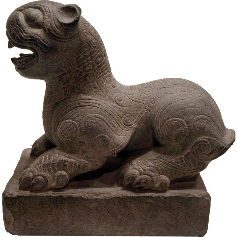 Ancient chinese carved stone lion