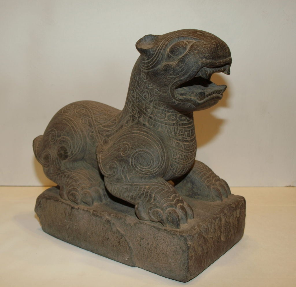 Ancient Stone Carvings : Ancient chinese carved stone lion at stdibs