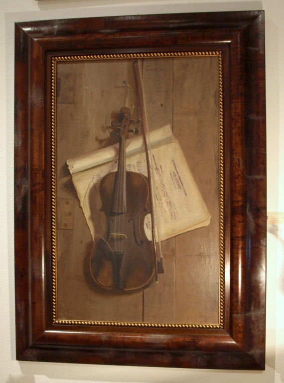 Very fine oil painting of a violin, together with sheet music painted on board. This painting was acquired from a Washington DC art dealer.