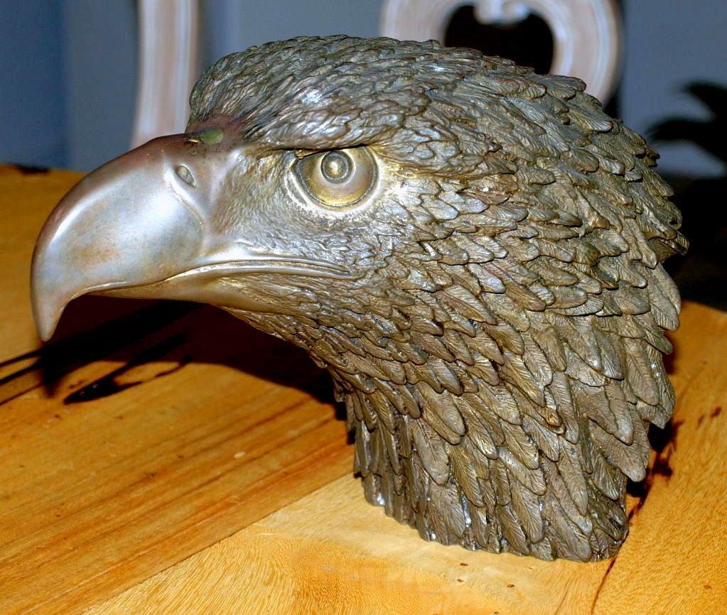 Huge old hand carved wood federal eagle folk art wooden eagle wall - Impressive Bronze Eagle Head Sculpture 2