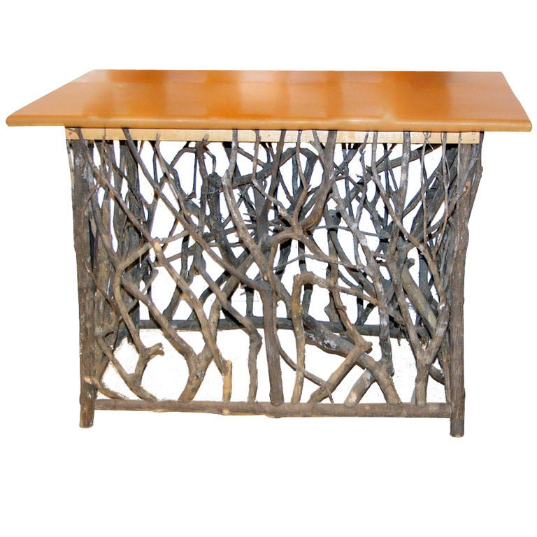 Natural Wood Console Table ~ Natural wood branch console table with leather top at stdibs