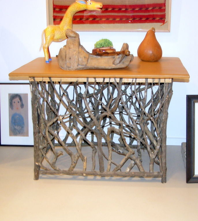 natural wood branch console table with leather top at 1stdibs. Black Bedroom Furniture Sets. Home Design Ideas