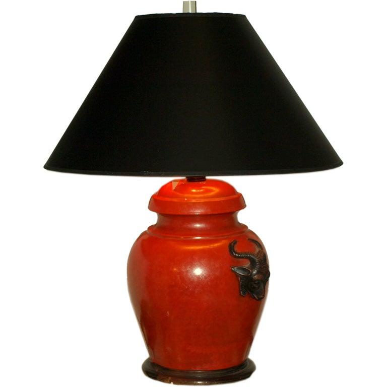 Burnt Orange Ginger Jar Style Lamp At 1stdibs