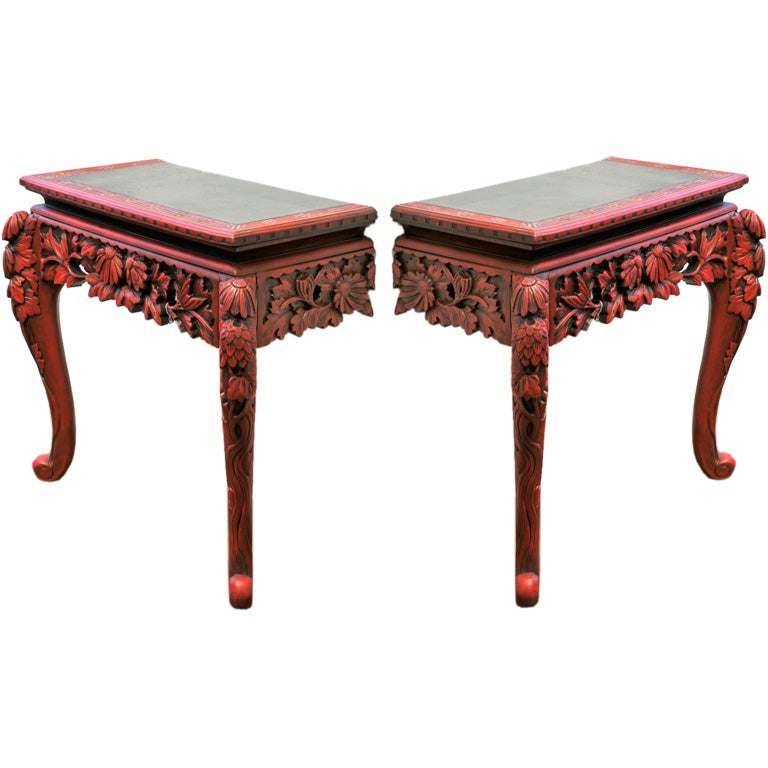 Pair of Ornate Carved Wood Console Tables at 1stdibs