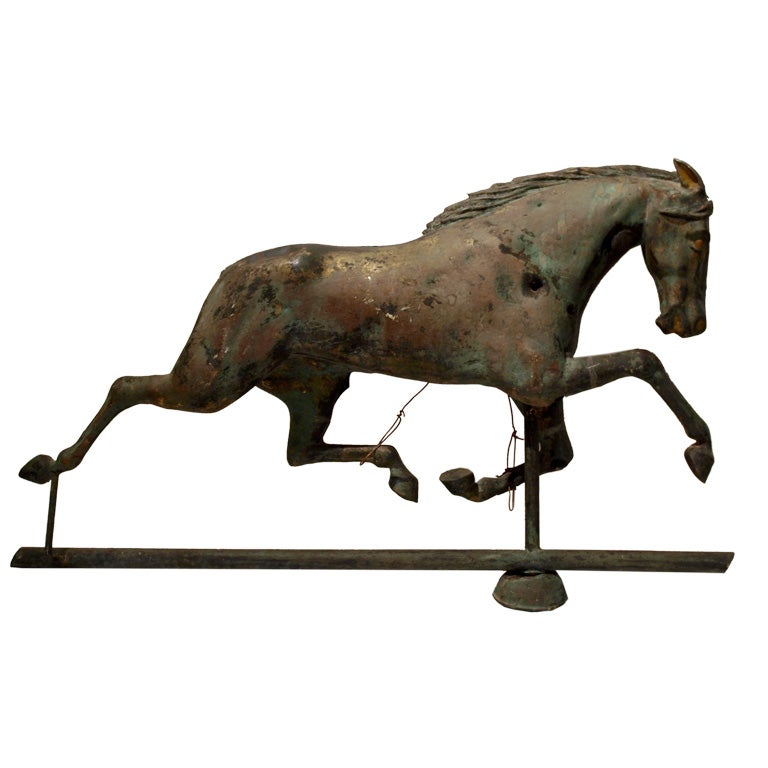 Vintage Weather Vane: Antique Folk Art Horse Weathervane At 1stdibs
