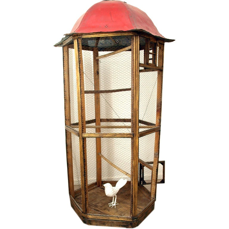 Vintage Wood And Metal Bird Cage At 1stdibs