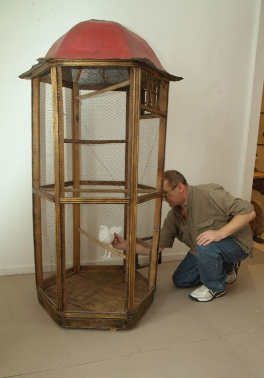 Vintage Wood And Metal Bird Cage At 1stdibs