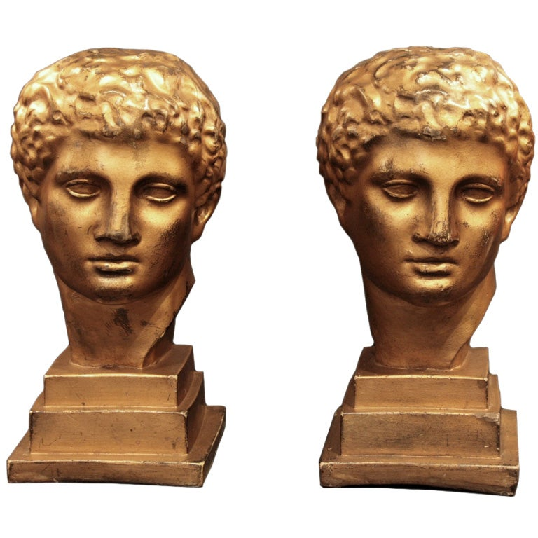Pair of Italian Vintage Gold Leaf Busts 1