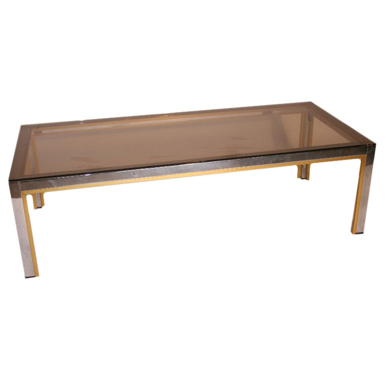 French Vintage Brass Glass And Chrome Coffee Table At 1stdibs
