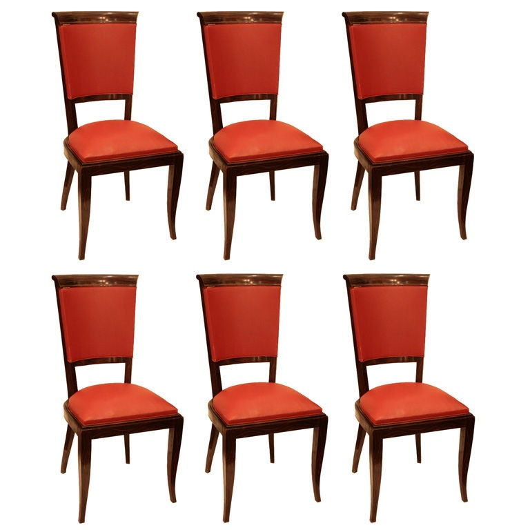Set of six french art deco period dining chairs at 1stdibs for Art deco era dates
