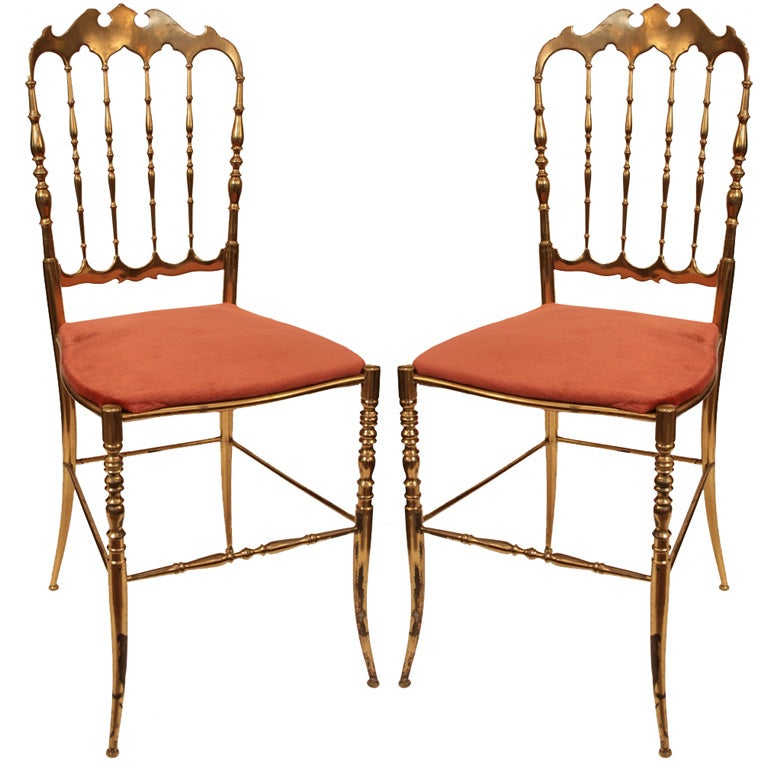 Lovely Italian Vintage Pair Of Chiavari Ballroom Chairs For Sale