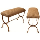 Pair of Gold Leafed Spanish Iron Benches