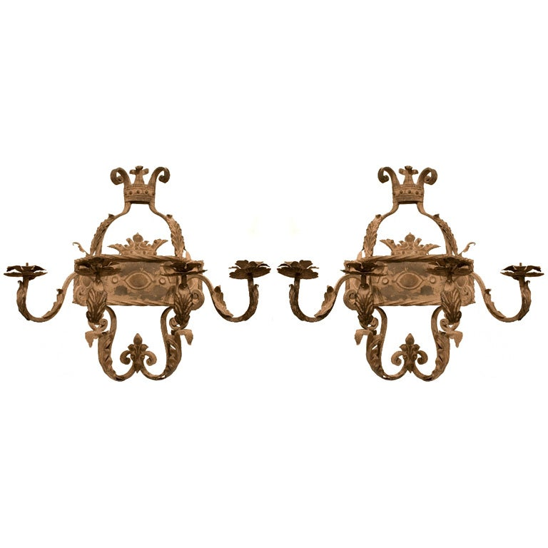 Spanish Iron Wall Sconces : Pair of Spanish Forged Iron Sconces at 1stdibs