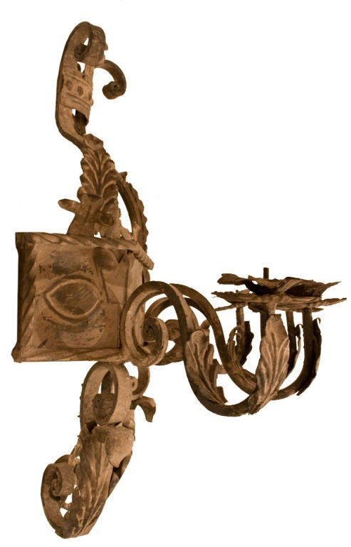 Pair of Spanish Forged Iron Sconces at 1stdibs
