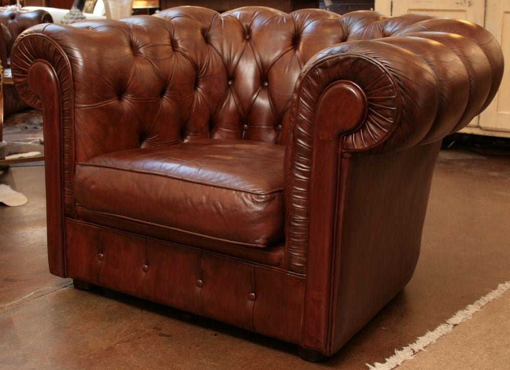 Pair Of Leather Chesterfield Armchairs From England At 1stdibs