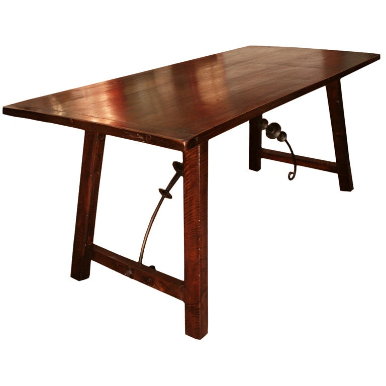Spanish Antique Walnut and Forged Iron Dining Table at 1stdibs : ii107a from www.1stdibs.com size 768 x 768 jpeg 39kB