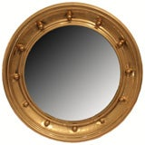 French Antique Round Brass Mirror