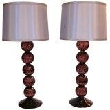 Pair of Italian Aubergine Murano Glass Lamps
