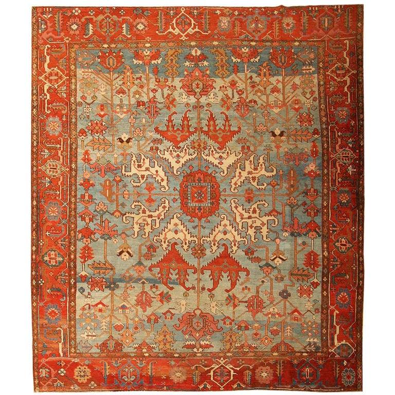 Breathtaking Large Geometric Red 10x12 Bakhtiari Persian: Antique Geometric Tribal Serapi Size: 10' X 11'6'' At 1stdibs