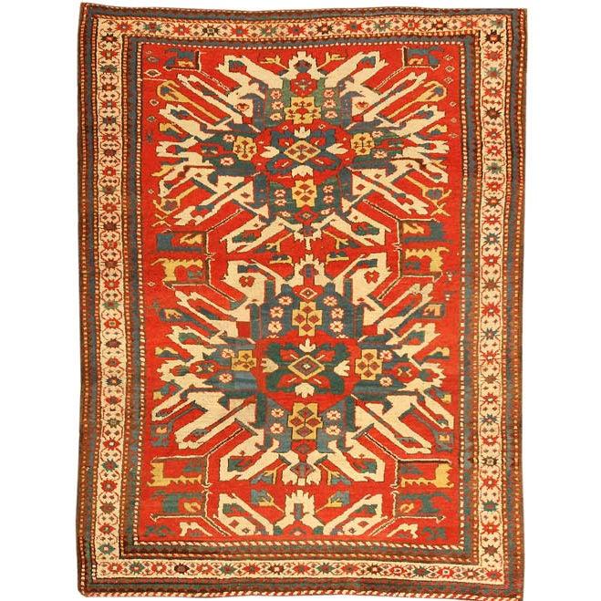 """Antique """" Eagle Kazak """" Rug / Carpet At 1stdibs"""