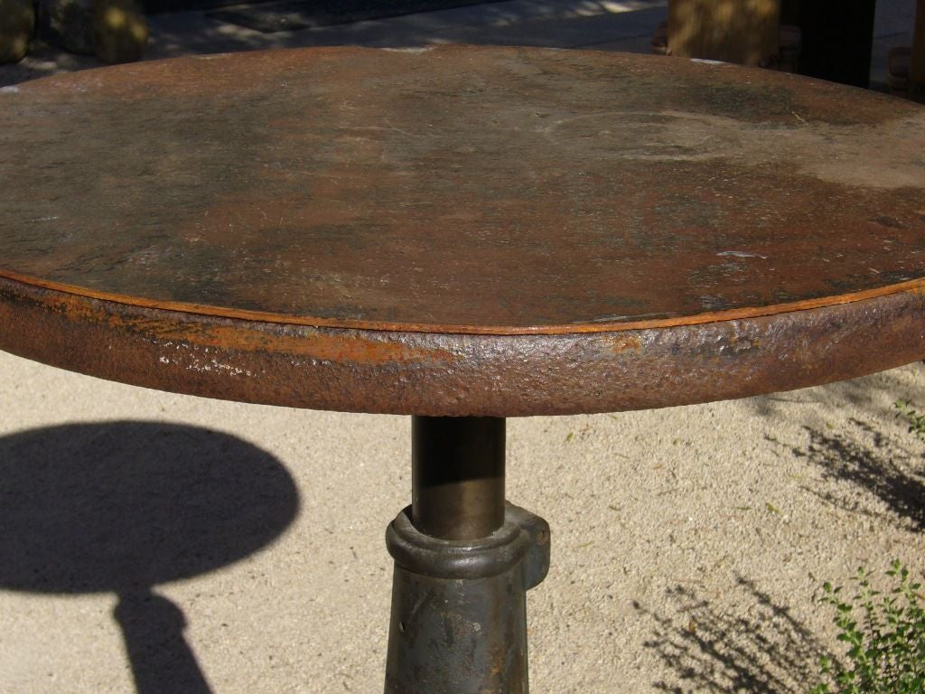 Vintage Industrial Iron High Top Table, France C. 1930 2