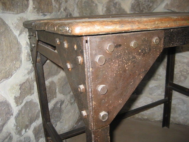 Vintage Wooden Side Table with Metal Base, Belgium, c. 1920 In Good Condition For Sale In Napa, CA