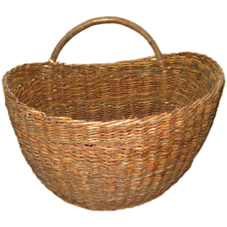 French Half Round Woven Basket, Belgium, c. 19th Century