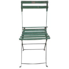 Captivating Set Of Vintage Green Bistro Chairs