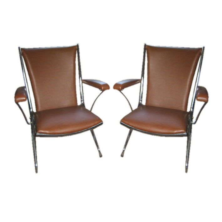 Pair of Brown Folding Leatherette Chairs at 1stdibs