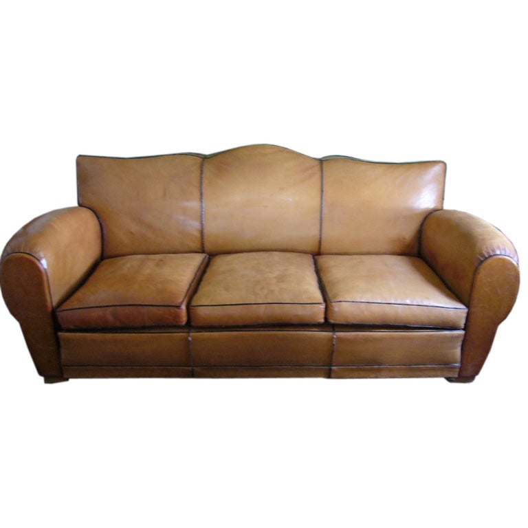 art deco leather sofa for sale at 1stdibs. Black Bedroom Furniture Sets. Home Design Ideas