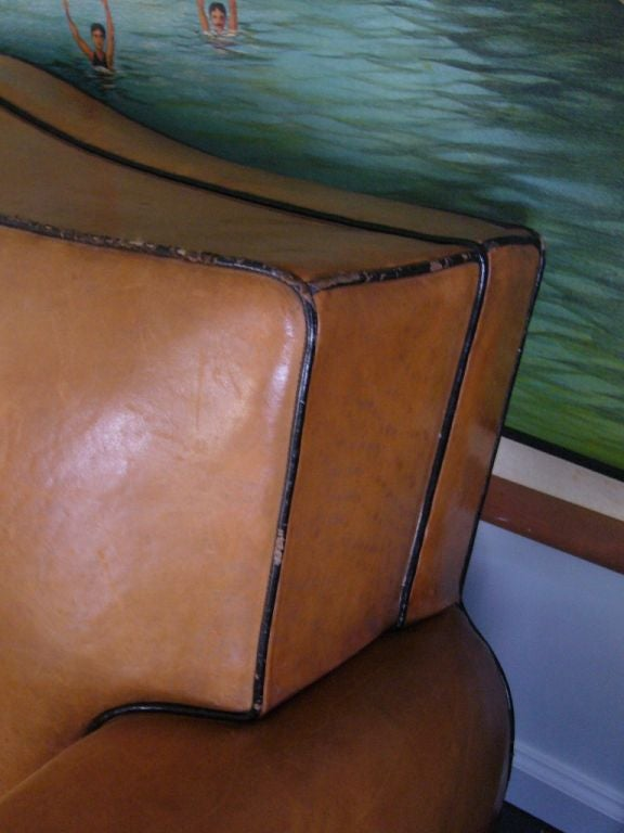 Mid-20th Century Art Deco Leather Sofa For Sale