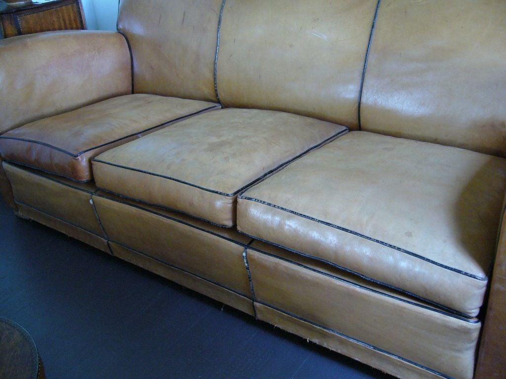 Art Deco Leather Sofa For Sale 2
