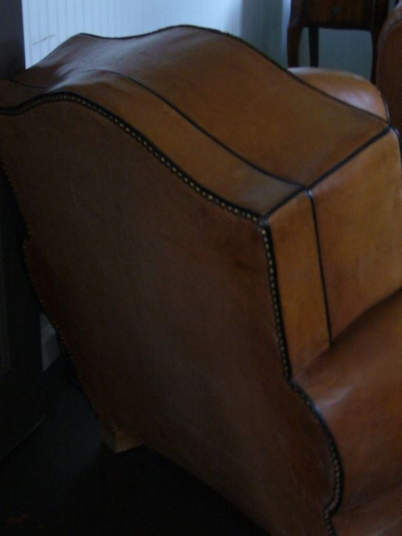 Pair of Art Deco Leather Club Chairs For Sale 1