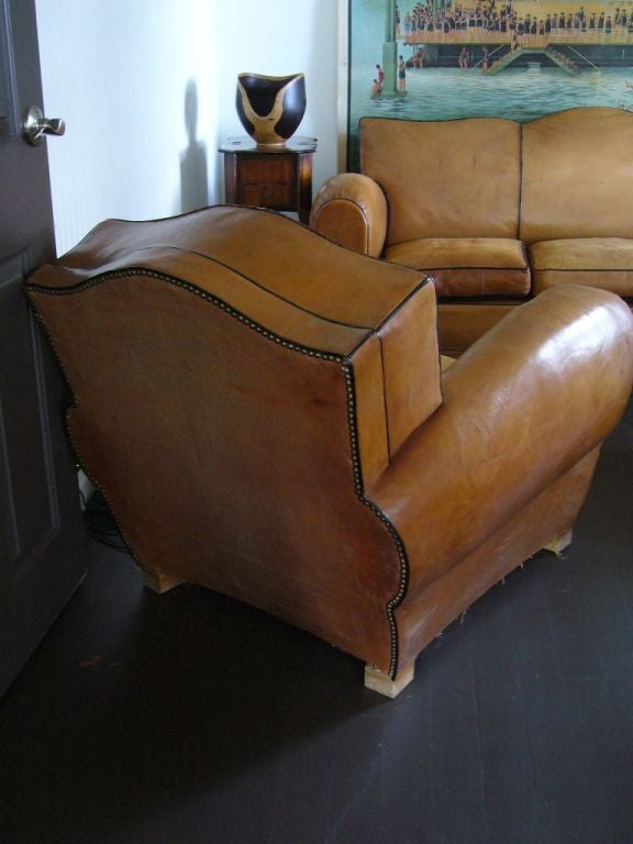 Pair of Art Deco Leather Club Chairs For Sale 2