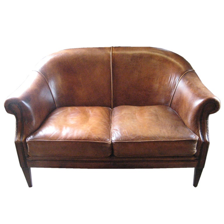 Vintage Leather Love Seat At 1stdibs