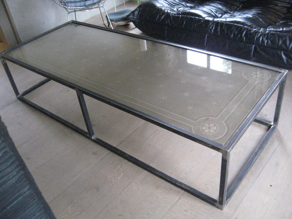 Etched Glass Coffee Table At 1stdibs