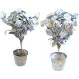 Pair of 19th Century Porcelain Toile Flower Pots