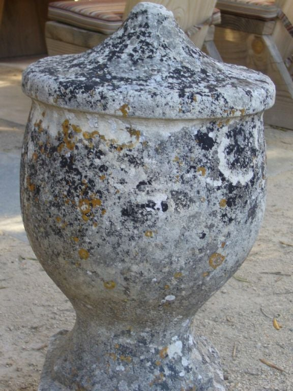 Vintage mottled stone urn from Southern France with a beautiful patina.