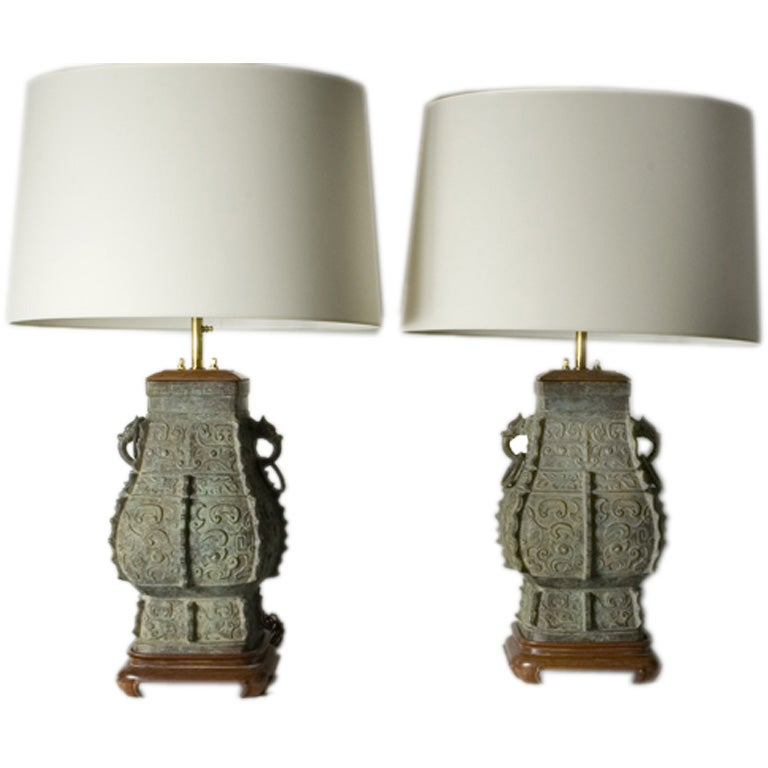 Pair of Patinated Bronze Asian Style Lamps