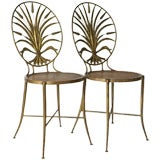 Pair of Italian Gilt Wheat Sheaf Chairs