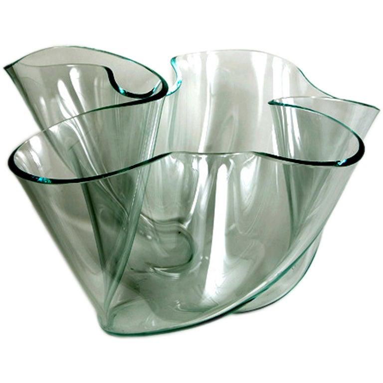 Large Sculptural Glass Bowl For Sale
