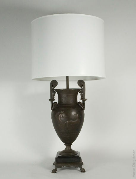 20th Century Pair of Patinated Bronze Neoclassical Lamps For Sale