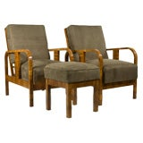 Pair of Austrian Armchairs with Ottoman