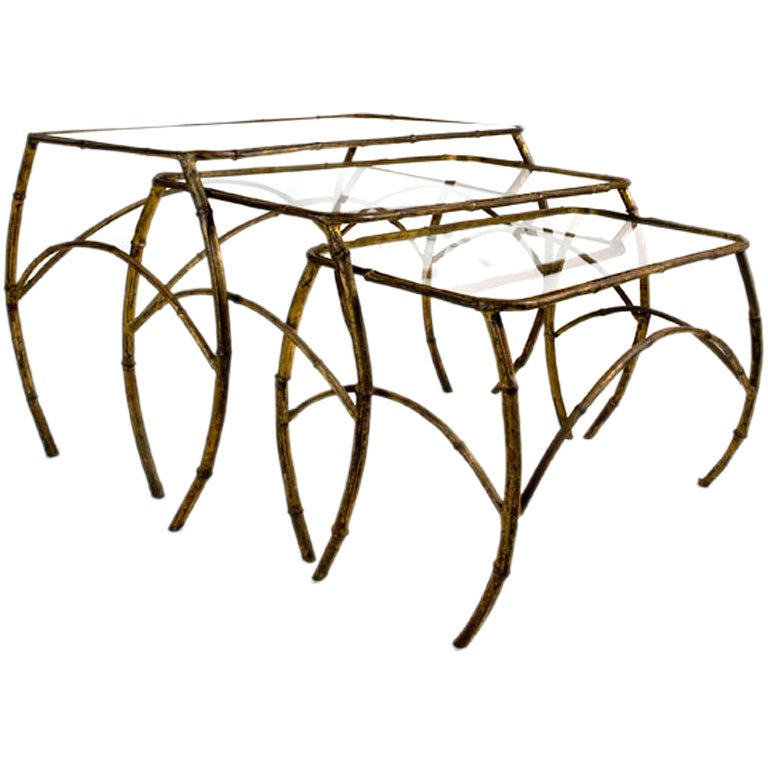 Gilt Metal Nesting Tables For Sale