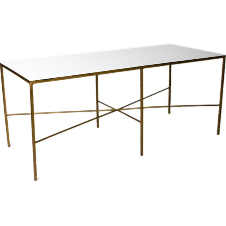 Mid-Century Milk Glass Table For Sale