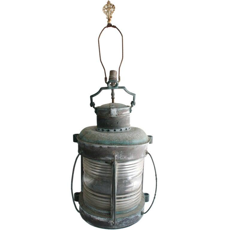 Large Verdigris Copper And Glass Ship Lantern Lamp At 1stdibs