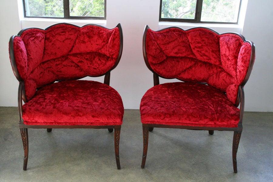 pair of french art deco mahogany velvet leaf back boudoir. Black Bedroom Furniture Sets. Home Design Ideas